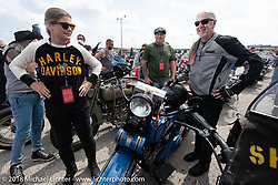 Chris and Pat Simmons in the staging area for the big parade during the Harley-Davidson 115th Anniversary Celebration event. Milwaukee, WI. USA. Sunday September 2, 2018. Photography ©2018 Michael Lichter.
