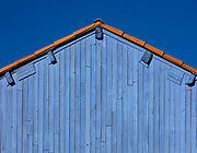 Blue workshed in the salt pans of Gruissan, on 19th October 2016, in Aude, france.