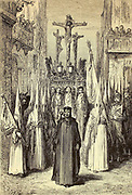 Cofrades (pénitents) accompagnant un paso [Confraternity of penitents accompanying a religious procession] Page illustration from the book 'L'Espagne' [Spain] by Davillier, Jean Charles, barón, 1823-1883; Doré, Gustave, 1832-1883; Published in Paris, France by Libreria Hachette, in 1874