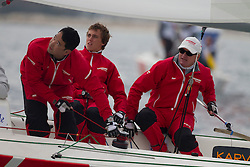 (from Left) Yasuhiro Yaji , David Gilmour , Peter Gilmour from YANMAR racing (aus) during there match at French Match race in Marseille   ,France 8 April 2010 Photo: Brendon O'Hagan/Subzero images