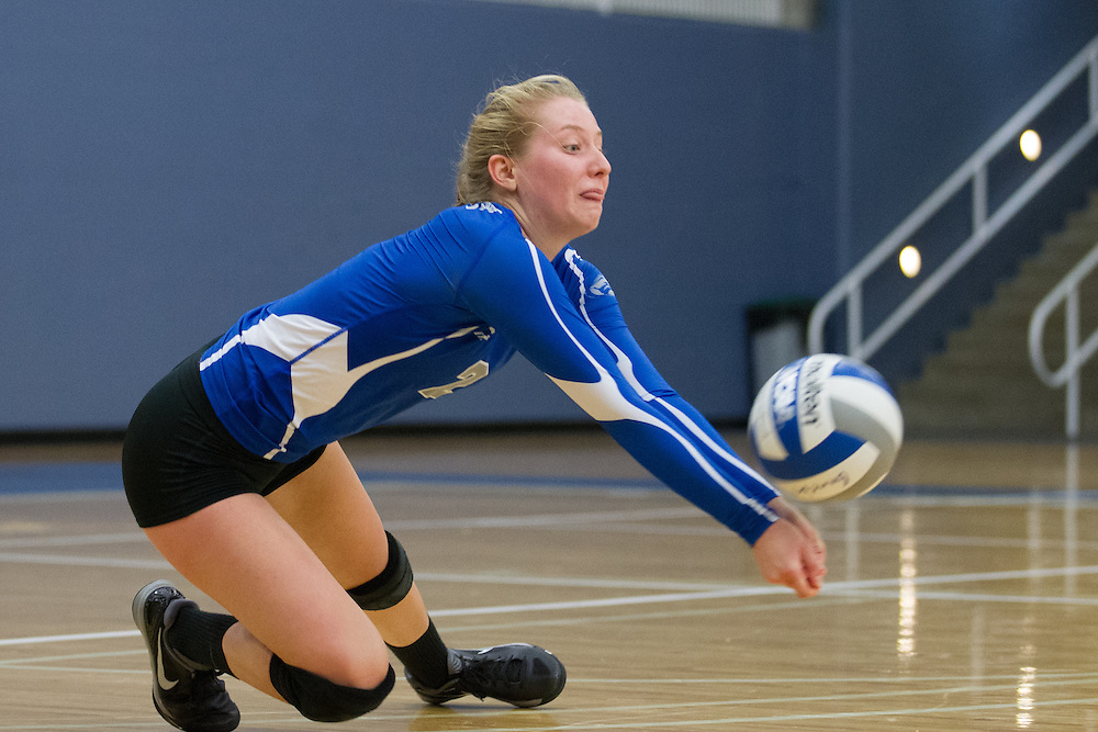 Natalie Roy, of Colby College, during an NCAA Division III volleyball match against Wesleyan University at The Whitmore-Mitchell at Wadsworth Gymnasium, Saturday Oct. 3, 2014 in Waterville, ME.  (Dustin Satloff/Colby College Athletics)