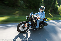 Dennis Leggett riding his 1936 Indian Sport Scout during Stage 5 of the Motorcycle Cannonball Cross-Country Endurance Run, which on this day ran from Clarksville, TN to Cape Girardeau, MO., USA. Tuesday, September 9, 2014.  Photography ©2014 Michael Lichter.