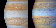 composite frames of the mid-section of Jupiter were of narrow angle images acquired on December 31, 2000, a day after Cassini's closest approach to the planet. The smallest features in these frames are roughly ~ 60 kilometres. The left is natural colour, composited to yield the colour that Jupiter would have if seen by the naked eye. The right frame is composed of 3 images: two were taken through narrow band filters cantered on regions of the spectrum where the gaseous methane in Jupiter's atmosphere absorbs light, and the third was taken in a red continuum region of the spectrum, where Jupiter has no absorptions.