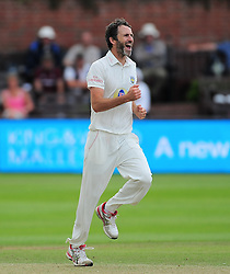 Graham Onions of Durham celebrates the wicket of James Hildreth.  - Mandatory by-line: Alex Davidson/JMP - 05/08/2016 - CRICKET - The Cooper Associates County Ground - Taunton, United Kingdom - Somerset v Durham - County Championship - Day 2