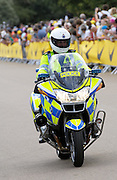 London 7th July 2007: A British police motorcycle rider rides on the prologue course of the 2007 Tour de France cycle race. The race featured both English and French police.