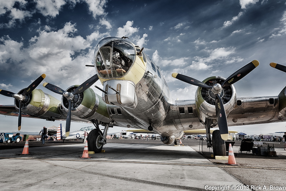 """Boeing B17 """"Chuckie"""" of the Tillamook Air Museum at the Airshow of the Cascades."""