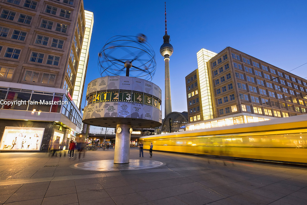 Night view of Alexanderplatz in Mitte Berlin Germany