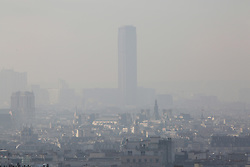 The Tour Montparnasse is seen in a heavy smog in Paris, France, on December 8, 2016. The pollution in Paris right now is the worst it has been in a decade, and public transport has been free since Tuesday. The pollution level will still be high on Thursday, with authorities announcing that there will be a third consecutive day of travel restrictions. Only vehicles with even-numbered registration plates will be allowed on the road, or the drivers will face fines. Photo by Somer/ABACAPRESS.COM