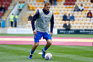 Wimbledon forward James Hanson (18) warming up  during the EFL Sky Bet League 1 match between Bradford City and AFC Wimbledon at the Northern Commercials Stadium, Bradford, England on 4 May 2019.