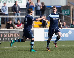 Forfar Athletic's Thomas O'Brien (5) cele scoring their second goal. Forfar Athletic 2 v 4 Annan Athletic, Scottish Football League Division Two game played 6/5/2017 at Station Park.