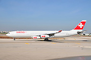 Israel, Ben-Gurion international Airport Swiss Air Lines passenger jet ready for takeoff