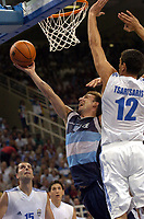 26/08/04 - ATHENS  - GREECE -  - BASKETBALL QUARTERFINAL MATCH   - Indoor Olympic Stadium - <br />ARGENTINA win (69) over GREECE (64) <br />Argentine celebration after win the match.<br />Here Arg. N*4 JUAN PEPE SANCHEZ and GREECE N*12 TSARTSARIS Konstantinos<br />© Gabriel Piko / Argenpress.com / Piko-Press