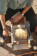 Woman Carding Sheep's Fleece on a drum-carding machine