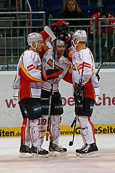 07.10.2011, TUI Arena, Hannover, GER, DEL, Hannover Scorpions vs DEG Metro Stars, im Bild  Evan Kaufmann (Duesseldorf #9) kann seinen ausgleichstreffer bejubeln .// during the match from GER, DEL, Hannover Scorpions vs DEG Metro Stars on 2011/10/03, TUI Arena, Hannover, Germany. .EXPA Pictures © 2011, PhotoCredit: EXPA/ nph/  Schrader       ****** out of GER / CRO  / BEL ******
