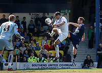 Photo: Ashley Pickering.<br /> Southend United v Colchester United. Coca Cola Championship. 06/04/2007.<br /> Lee Bradbury of Southend (R) challenges for the ball
