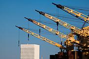 Ship cranes in in the port of Galveston, Texas.