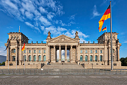 Facade of German parliament, Berlin, Germany