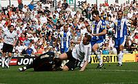 Photo: Steve Bond.<br />Derby County v RCD Espanyol. Pre Season Friendly. 04/08/2007. Steve Howard goes for a 50/50 ball with keeper Gorka Iraizoz