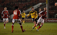 Jose Baxter scoring the first goal during the Sky Bet League 1 match between Walsall and Sheffield Utd at the Banks's Stadium, Walsall, England on 17 March 2015. Photo by Alan Franklin.