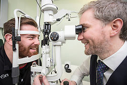 Director Adam Gordon with Simon Berghan. Edinburgh rugby players Ross Ford, Duncan Weir and Simon Berghan officially opened the new Specsavers store at 70 St John Road, Corstorphine, Edinburgh.
