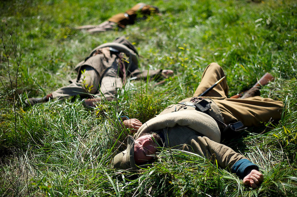Confederate soldiers stage death during the Battle of Perryville 150th Anniversary. Perryville, Kentucky on October 6, 2012.