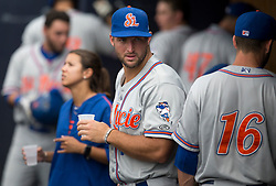 August 10, 2017 - Florida, U.S. - CHARLIE KAIJO   |   Times.St. Lucie Mets outfielder Tim Tebow (15) hangs out in the dugout during a game against the Tampa Yankees at Steinbrenner Field Tampa, Fla. on Thursday, August 10, 2017. (Credit Image: © Charlie Kaijo/Tampa Bay Times via ZUMA Wire)