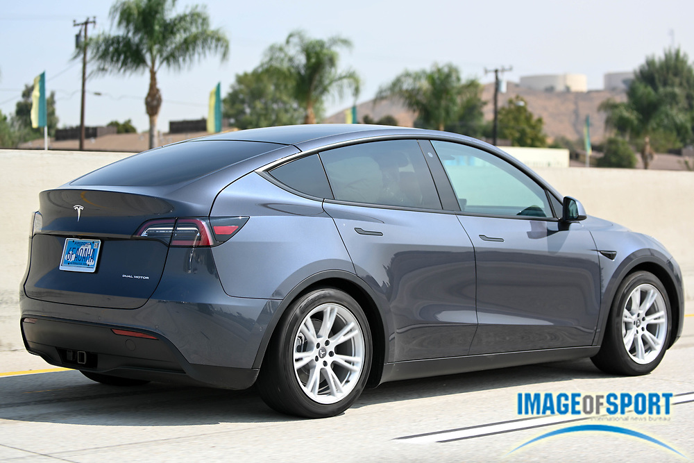 A Tesla Model Y with Arizona license plate number 6FAOAHA drives on the Interstate 60 East Thursday, Sept. 17, 2020, in Rubidoux, Calif. (Dylan Stewart/Image of Sport)