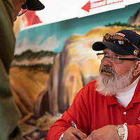 Community Service Corrdinator, Ben Welch, signs veterans in at the 7th Annual Veterans Stand Down and Hand-Up Project at Red Rock Park on November 1, 2019.