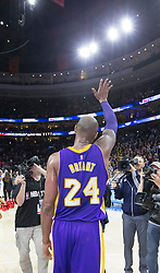 File photo of The Los Angeles Lakers' Kobe Bryant waves to the crowd after a 103-91 loss against the Philadelphia 76ers at the Wells Fargo Center in Philadelphia on Tuesday, Dec. 1, 2015. (Charles Fox/Philadelphia Inquirer/TNS/ABACAPRESS.COM)
