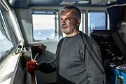 Greenpeace captain Daniel Rizzotti on the Arctic Sunrise in the Weddell Sea, Antarctica, on February 6, 2020.