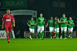 05.11.2011, Weser Stadion, Bremen, GER, 1.FBL, Werder Bremen vs 1.FC Köln, im Bild Claudio Pizarro (Bremen #24) und Markus Rosenberg (Bremen #11) nach dem 2:2 // during the match GER, 1.FBL, Werder Bremen vs 1.FC Koeln on 2011/11/05, 12. matchday, Weser Stadion, Bremen, Germany. EXPA Pictures © 2011, PhotoCredit: EXPA/ nph/  Gumz       ****** out of GER / CRO  / BEL ******