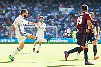 Real Madrid's player Daniel Carvajal and Eibar FC's player Antonio Luna during a match of La Liga Santander at Santiago Bernabeu Stadium in Madrid. October 02, Spain. 2016. (ALTERPHOTOS/BorjaB.Hojas)