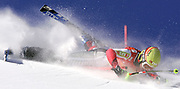 Austria's Marlies Schild crashes into a gate Sunday, Dec. 11, 2005, during the women's World Cup slalom in Aspen.