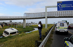 South Africa - Cape Town - 13 October 2020  A speeding mini bus taxi overturned on the N2 near Khayelitsha after hitting a white BMW  Photographer Ayanda Ndamane /African News Agency (ANA)