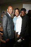 l to r: Emil Wibekin, Danyel Smith and Memsor Kamarake at The VIBE Magazine & Memsor Kamarake and Beverly Smith Salute to Black Men In Fashion ? NY Fashion Week Fall ?08 held Norwood on September 11, 2008