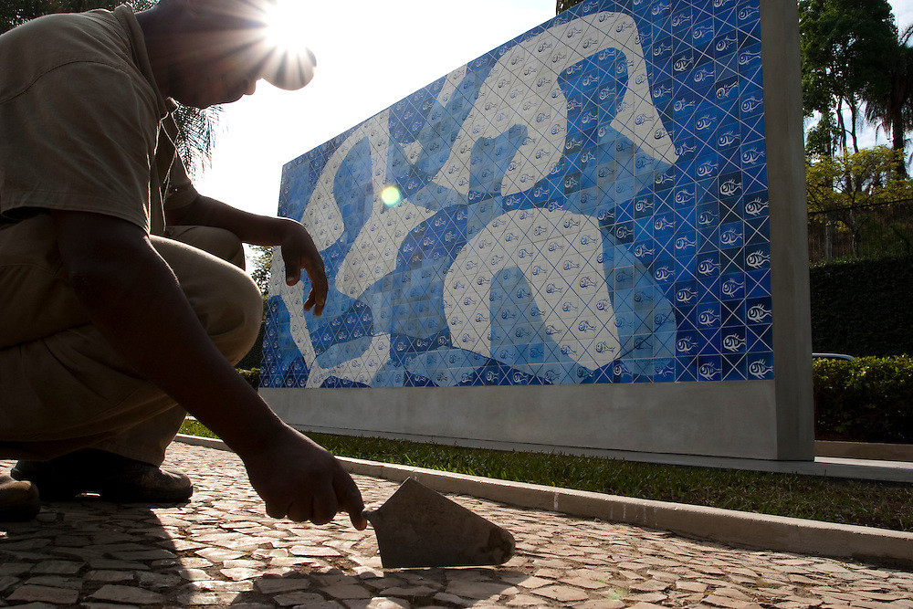 Belo Horizonte_MG, Brasil...Limpeza do painel Peixes do artista Candido Portinari no Pampulha Iate Clube...The cleaning of the panel Peixes of Candido Portinari artist in the Pampulha Iate Clube...Foto: LEO DRUMOND / NITRO.