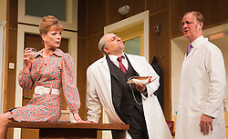 © Licensed to London News Pictures. 09/05/2012. London, England. L-R: Samantha Bond as Mrs Prentice, Omid Djalili as Dr Rance and Tim McInnerny as Dr. Prentice. What the Butler Saw by Joe Orton and directed by Sean Foley opens at the Vaudeville Theatre, London. Photo credit: Bettina Strenske/LNP