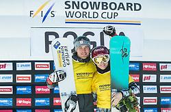 28.01.2017, Course Jasa, Rogla, SLO, FIS Weltcup Snowboard, Rogla, Parallel Riesenslalom, Siegerpräsentation, im Bild Winners in overall classification Benjamin Karl (AUT) and Ester Ledecka (CZE) celebrate // winnerpresentation overall classification of the Rogla FIS Snowboard World Cup at the Course Jasa in Rogla, Slovenia on 2017/01/28. EXPA Pictures © 2017, PhotoCredit: EXPA/ Sportida<br /> <br /> *****ATTENTION - OUT of SLO, FRA*****