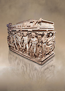 """Roman relief sculpted Hercules sarcophagus with kline couch lid, """"Columned Sarcophagi of Asia Minor"""" style typical of Sidamara, 250-260 AD, Konya Archaeological Museum, Turkey. Against a warm art background. .<br /> <br /> If you prefer to buy from our ALAMY STOCK LIBRARY page at https://www.alamy.com/portfolio/paul-williams-funkystock/greco-roman-sculptures.html . Type -    Konya     - into LOWER SEARCH WITHIN GALLERY box - Refine search by adding a subject, place, background colour, museum etc.<br /> <br /> Visit our ROMAN WORLD PHOTO COLLECTIONS for more photos to download or buy as wall art prints https://funkystock.photoshelter.com/gallery-collection/The-Romans-Art-Artefacts-Antiquities-Historic-Sites-Pictures-Images/C0000r2uLJJo9_s0"""