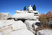 Climbing Half Dome rock at Yosemite national Park, California USA