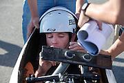 Jan Bos maakt zich klaar in de VeloX2. In de buurt van Battle Mountain, Nevada, strijden van 10 tot en met 15 september 2012 verschillende teams om het wereldrecord fietsen tijdens de World Human Powered Speed Challenge. Het huidige record is 133 km/h.<br /> <br /> Jan Bos is getting ready to start. Near Battle Mountain, Nevada, several teams are trying to set a new world record cycling at the World Human Powered Vehicle Speed Challenge from Sept. 10th till Sept. 15th. The current record is 133 km/h.