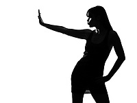 stylish sexy silhouette caucasian beautiful woman stop gesture on studio isolated white background
