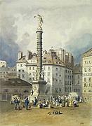 Place du Chatelet and the column commemorating Napoleon's victories. Paris.  Anonymous. Watercolour.