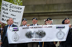 © Licensed to London News Pictures. <br /> 14/4/2017. London, Great Britain. <br /> Veterans at the Justice for Northern Ireland Veterans March in central London.<br /> They are protesting the prosecution of former Service men and women who served in Northern Ireland during the Troubles.<br /> Photo credit: Anthony Upton/LNP