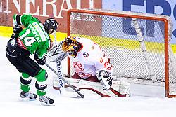 Matej Hocevar of Olimpija vs Jure Pavlic of Team Jesenice during ice hockey game between HDD Telemach Olimpija and Team Jesenice in 2nd leg of Finals of Slovenian National Championship 2014, on April 3, 2014 in Hala Tivoli, Ljubljana, Slovenia. Photo by Matic Klansek Velej / Sportida