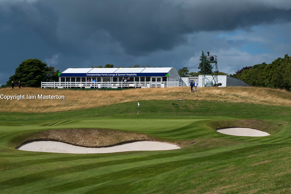 Gleneagles, Scotland, UK; 10 August, 2018.  Day three of European Championships 2018 competition at Gleneagles. Men's and Women's Team Championships Round Robin Group Stage. Four Ball Match Play format.  Pictured; 18th green at PGA Centenary Course in Gleneagles..