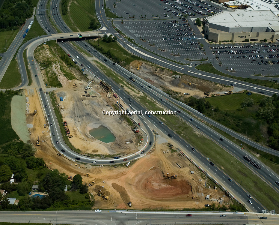 Aerial view of Route 1 and Route 95 Road Construction at Christiana Mall, Delaware