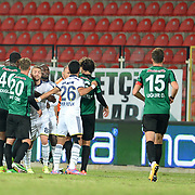 Akhisar Belediye Genclik Spor's and Fenerbahce's players during their Turkish Super League soccer match Akhisar Belediye Genclik Spor between Fenerbahce at the 19 Mayis Stadium in Manisa Turkey on Sunday, 28 September 2014. Photo by TURKPIX