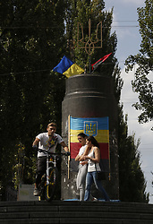 September 10, 2017 - Kiev, Ukraine - Ukrainian national emblem, the Trident, is seen set atop the base, left after Lenin statue thrown off in late 2014, downtown Kyiv, Ukraine, September10, 2017. (Credit Image: © Sergii Kharchenko/NurPhoto via ZUMA Press)