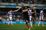 GOAL / CELE - Ciaran Clark of Newcastle United celebrates after scoring his sides 4th goal from a corner to make it 0-4. EFL Skybet football league championship match, Queens Park Rangers v Newcastle Utd at Loftus Road Stadium in London on Tuesday 13th September 2016.<br /> pic by John Patrick Fletcher, Andrew Orchard sports photography.
